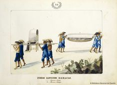 INDIOS LLEVANDO HAMACAS. Lozano, José Honorato 1821- — Dibujo — 1847