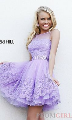 Short High Neck Dress by Sherri Hill at PromGirl.com