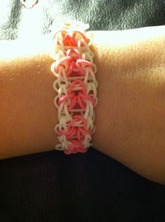 Rainbow loom Breast cancer Awareness ribbon pattern Created by Luella Clark