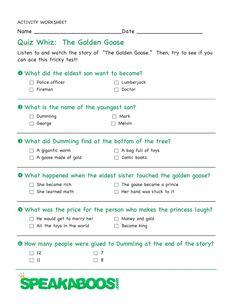 Quiz Whiz: The Golden Goose | Speakaboos #Worksheets #quiz #education #kids
