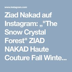 """Ziad Nakad auf Instagram: """"""""The Snow Crystal Forest"""" ZIAD NAKAD Haute Couture Fall Winter 2017/18 Collection. #ParisFashionWeek #FW18 _____ Hair by: @stephentlow at…"""""""