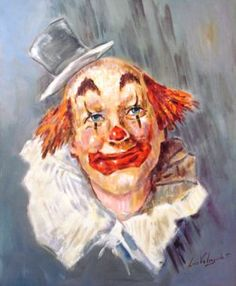 Clown Pics, Le Clown, Circus Clown, Pierrot, Emmett Kelly Clown, Mime, Clown Paintings, Watercolor Deer, Vintage Clown