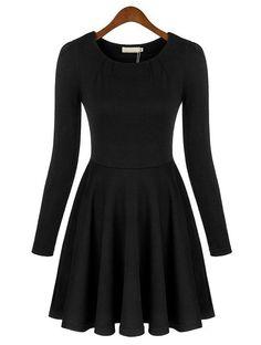 Vestido plisado cuello redondo manga larga-negro EUR€23.85