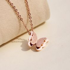 <3 Cute Rose Gold Butterfly Necklace <3