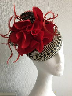 Black and white red poppy flower alice in wonderland pillbox straw hat with feathers royal ascot