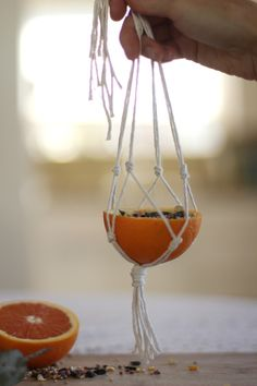 easy macrame orange bird feeder