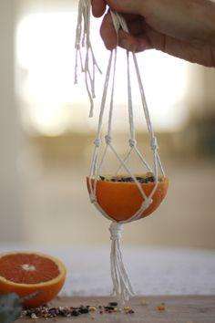 easy macrame orange bird feeder