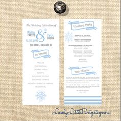 What do you think of this layout?  Winter Wonderland Wedding Program DIY by lovelylittleparty on Etsy, $25.00