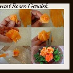 Garnish tips (carrot flowers) Tutorial Rosa, Rose Tutorial, L'art Du Fruit, Fruit Art, Veggie Art, Fruit And Vegetable Carving, Edible Food, Edible Art, Carrot Flowers