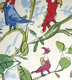 Cockatoos Fabric Wonderful Quentin Blake designed fabric of Cockatoos in all colours on an off white background