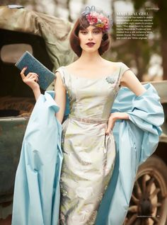 "We're honored to learn from our Australian distributor, that Anna French's ""Songbirds"" fabric was used to make this stunning dress… Marie Claire, The Dressmaker Movie, 1950s Fashion, Vintage Fashion, Boho Dress, Dress Up, Glamour, Vintage Mode, Schneider"