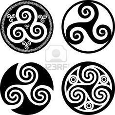 Set van zwarte geïsoleerde Keltische symbolen - triskels Stockfoto