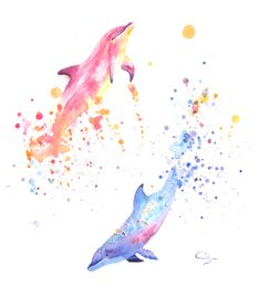 sea life - sea life photography - sea life underwater - sea life artwork - sea life watercolor sea l Dolphin Painting, Dolphin Art, Watercolor Images, Watercolor Paintings, Animal Drawings, Art Drawings, Art Et Nature, Dolphins Tattoo, Aquarell Tattoo