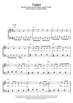 Learn to play Alan Walker Faded sheet music for Piano, Vocal & Guitar Pop Sheet Music, Clarinet Sheet Music, Easy Piano Sheet Music, Piano Music Notes, Violin Music, Piano Songs, Sheet Music Notes, Alan Walker, Faded Music