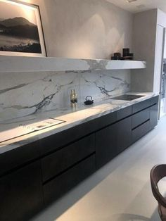 Farbkonzept Marmor und Boden - Küche alle - Flooring For All Grounds Refacing Kitchen Cabinets, Kitchen Countertops, Dark Cabinets, Cabinet Refacing, Cabinet Doors, Modern Kitchen Design, Interior Design Kitchen, Marble Interior, Room Interior