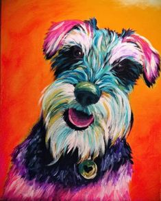 Join us at Pinot's Palette - Spokane Studio on Sun Mar 2015 for Psychedelic Project Pet. Seats are limited, reserve yours today! Animal Paintings, Animal Drawings, Art Drawings, Schnauzer Art, Miniature Schnauzer, Paint Your Pet, Colorful Animals, Cartoon Dog, Dog Portraits