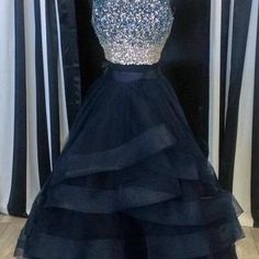 Scoop neck Tulle Prom Dresses, Crys..