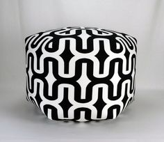 """25"""" Wide By 18"""" Tall Floor Ottoman Pouf Pillow Black & White  - Embrace Contemporary Modern Print"""