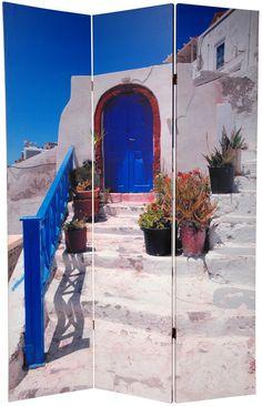 "70.88"" x 47"" Double Sided Santorini Greece 3 Panel Room Divider"