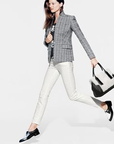 NOV '14 Style Guide: J.Crew women's pop art rose tee, Regent blazer, sateen toothpick pant, shearling satchel bag, and two tone loafers.