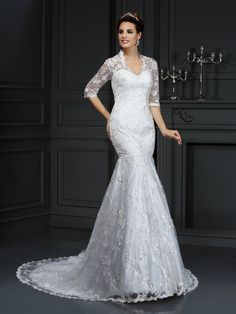 Trumpet/Mermaid V-neck Lace 1/2 Sleeves Long Lace Wedding Dresses