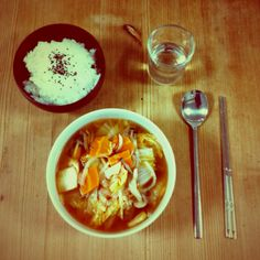 Kimchi soup, rice and soju. That's a meal!