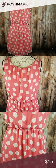 Poka Dot Dress Light weight fabric perfect for summer! Coral and white. Little spot on back where it must have had a little color leak in the wash. GUC Eyeshadow Dresses