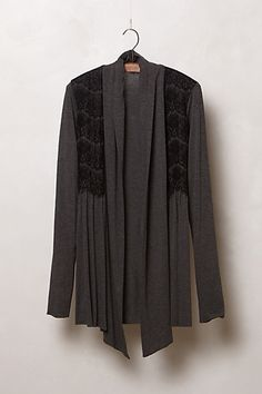 This would fit in with my wardrobe quite nicely, but I already have about 15 gray cardis. Perfect Wardrobe, My Wardrobe, Cool Outfits, Summer Outfits, Lace Cardigan, Open Cardigan, It Goes On, Cool Sweaters, College Outfits