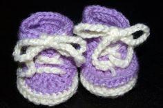sneaker style crochet baby booties in purple by mylittlebows, $9.99
