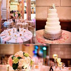 90 state looking #prettyinpink pink and white wedding decor. White simple wedding cake at 90 State Events in Albany NY