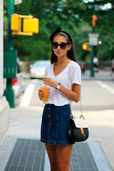 #basic #streetstyle #outfit #looks #basicos #inspiracion #inspiration #denim #skirt