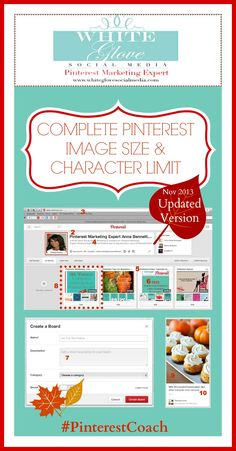 Complete Pinterest Image Size and Character Limit Protocol REVISED EDITION. #PinterestCoach includes SEO tips and reveals the perfect pin size! Go here to check it out http://www.whiteglovesocialmedia.com/pinterest-consultant-complete-pinterest-image-size-and-character-limit/  ✭Pinterest Marketing Expert✭