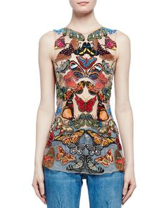W0D28 Alexander McQueen Sleeveless Butterfly-Embroidered Mesh Top, Multi