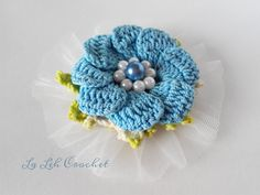 Crochet flower tutu applique using tulle (for bags, dress, shawl, scarf) by LaLehCrochet on Etsy