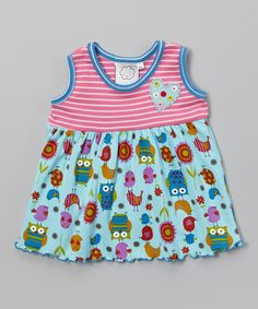 Look at this Aqua Owl Flower Babydoll Top - Infant & Toddler on #zulily today!