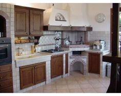 Cucina in finta / vera muratura... a Prato - eBay Annunci Dutch Kitchen, Country Kitchen, Diy Kitchen, Kitchen Cabinets, Custom Kitchens, Home Kitchens, Mexican Kitchens, Dining Decor, Outdoor Kitchen Design