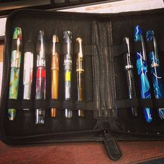 The load-out for the week. 9 pens inked at one time. It's serious!  #viscontipen #kaweco #TWSBI #waterman #nemosine #pelikan #parkerpen #edisonpen #omas #edc #everydaycarry #fpgeeks #fpaddict #penaddict