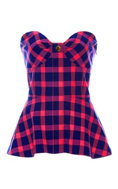 Seersucker Plaid Fiona Bustier by Tanya Taylor for Preorder on Moda Operandi Stage Outfits, Kpop Outfits, Girl Outfits, Blackpink Fashion, Fashion Outfits, Peplum Shirts, Peplum Tops, Blusas Top, Tartan