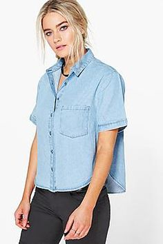 Jenna Box Shape Cropped Denim Shirt