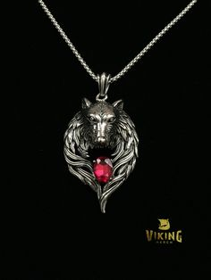 Red Ruby Wolf Valkyrie Wings Pendant Necklace - Viking Merch  - 2