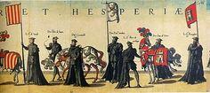 Estandartes con las armas de Aragón, de León y de Castilla en las exequias a la muerte de Carlos I. Jérôme Cock, Funerales de Carlos I, Amberes, Cristóbal Plantino, 1559.