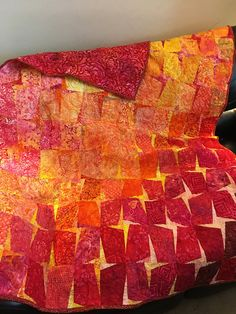 Quilted throw/lap quilt in warm color batik fabrics with dark red backing - Welcome to our website, We hope you are satisfied with the content we offer. Batik Quilts, Lap Quilts, Amish Quilts, Cotton Quilts, Quilt Blocks, Scrappy Quilts, Textiles Sketchbook, Native American Patterns, Charm Pack Quilts