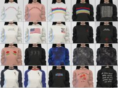 """casteru: """" ** WOMEN'S SWEATSHIRTS ** • 20 swatches • female only • teen to adult • mesh by @spectacledchic-sims4 (download HERE) • credits: spectacledchic (mesh); INUINU + soaestheticshop..."""