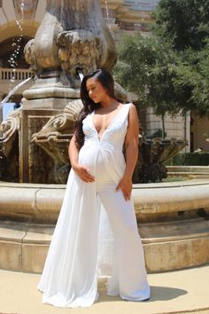 Beautiful white maternity jumpsuit for a gender reveal or pregnancy photoshoot. Maternity Jumpsuit, Maternity Dresses For Baby Shower, Maternity Dresses Summer, Cute Maternity Outfits, Stylish Maternity, Maternity Gowns, Pregnancy Outfits, Mom Outfits, Maternity Fashion