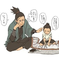 Shikamaru and Shikaku. Adorable, I wish I knew what they were saying...! #Naruto