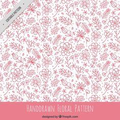 Desenho padrão floral rosa Vetor grátis
