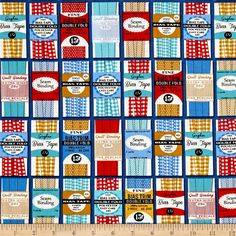 Designed by Heidi Kenney for Robert Kaufman Fabrics, this cotton print fabric features cute vintage/retro sewing themes. Perfect for quilting, apparel, and home decor accents. Colors include blue, red, mustard, black, and off-white.