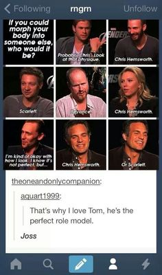 Tom Hiddleston's answer....awww... We love your body too. ~ ♥ Don't worry. ;-)