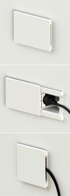 Hide by by An electrical outlet that hides the plug, it blends completely into the wall to hide unsightly plugs and outlets. might not be too practical for plugs of other shapes / adapters though Ideas Geniales, Electrical Outlets, Smart Home, Sliding Doors, Front Doors, Plugs, Home Improvement, Cool Designs, Life Hacks