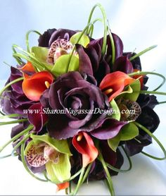 The dark purple is a pretty choice too, especially with the green for a fall outdoor wedding